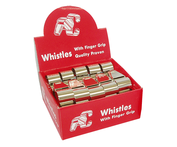 Metal finger grip whistle - Gold